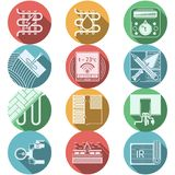 Flat round colored icons for heated floor Royalty Free Stock Photos