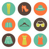 flat round fashion icons set of nine elements Stock Image