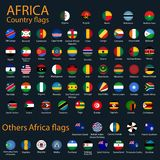 Flat Round Flags of Africa on Black Background stock illustration