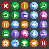 Flat and round game icons Royalty Free Stock Photography
