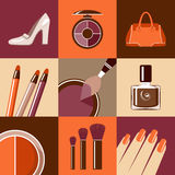 Flat round icons with makeup and accessories. Royalty Free Stock Photo