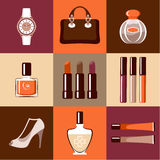 Flat round icons with makeup and accessories. Stock Image
