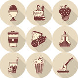 Flat round icons for tasty food Stock Photo