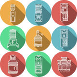 Flat round icons for water coolers Royalty Free Stock Images