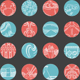 Flat round line icons for seafood Stock Images