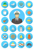 Flat Round Nautical Icons With Young Attractive Captain Stock Images