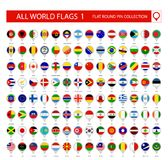 Flat Round Pin Icons of All World Flags. Part 1. All World Flags Vector Collection stock illustration