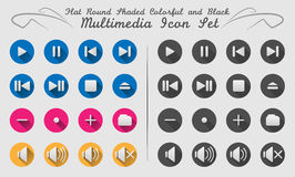 32 flat round shadowed media icons. Flat round colourful shadowed media icons for web or printable or use for softwares Royalty Free Stock Photos