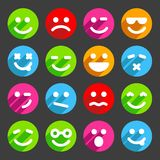 Flat and round smiley icons for your design Royalty Free Stock Images