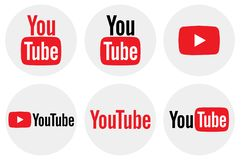 Flat round YouTube icon collection vector illustration