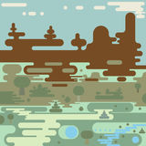 Flat rounded landscape design royalty free illustration