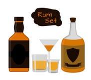 Flat rum set. Alcohol drink, glasses, shots, bottles of rum. Stock Photography