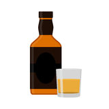 Flat rum set. Alcohol drink, glasses, shots, bottles of rum. Royalty Free Stock Images