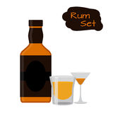 Flat rum set. Alcohol drink, glasses, shots, bottles of rum. Royalty Free Stock Photography