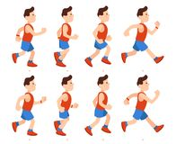 Flat running man. Athletic boy run animation frames sequence. Runner male in tracksuit, legs animations cartoon vector. Flat running man. Athletic boy run royalty free illustration