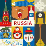Flat Russian Symbols Royalty Free Stock Photography