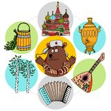 Flat Russian Traditions Concept Royalty Free Stock Photography