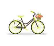 Flat rustic bicycle with flowers Royalty Free Stock Photos