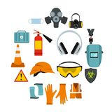 Safety icons set, flat style. Flat safety icons set. Universal safety icons to use for web and mobile UI, set of basic safety elements isolated vector Royalty Free Stock Photo