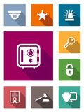 Flat safety and security icons. On colorful web buttons Royalty Free Stock Images