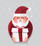 Flat santa claus with gift charactor. vector illustration. Royalty Free Stock Photography