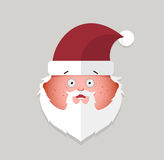 Flat santa claus surprise emoticon. vector illustration. Royalty Free Stock Photos