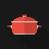 Flat saucepan with long shadow. Vector icon Stock Photos