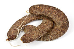 Flat sausage. Traditional homemade Balkan sausage made ??from beef and pork minced with spices Royalty Free Stock Images