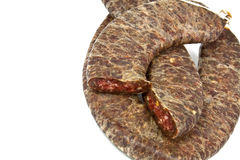 Flat sausage. Traditional homemade Balkan sausage made ??from beef and pork minced with spices Stock Images