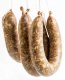 Flat sausages raw Royalty Free Stock Photos