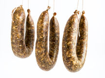 Flat sausages raw Royalty Free Stock Photo