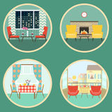 Flat scenes of romantic dating in the interior. vector illustration Stock Images