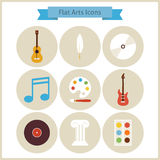 Flat School Arts and Music Icons Set Stock Images