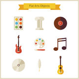 Flat School Arts and Music Objects Set Stock Photography