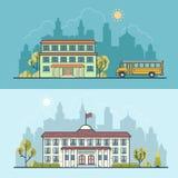 Flat school building municipal governmental vector Stock Photos