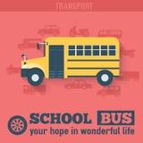 Flat school bus background illustration concept. Royalty Free Stock Photo
