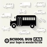 Flat school bus background illustration concept. Stock Photography