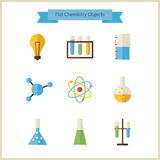 Flat School Chemistry and Science Objects Set Stock Image