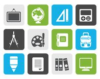 Flat School and education icons. Vector icon set Royalty Free Stock Photo