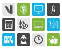Flat School and education icons Royalty Free Stock Photo