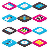 Flat School Education and Learning Isometric Icons Set Stock Photo