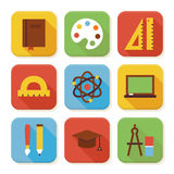 Flat School and Education Squared App Icons Set Royalty Free Stock Photography