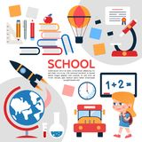 Flat School Elements Composition Royalty Free Stock Images