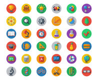 Flat School Icons on Circles with Shadow. Vector. Collection. High School Object and College Education Items with Teaching and Learning Symbols. Studying and Stock Photography