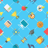 Flat School Icons Seamless Pattern Stock Photo
