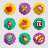 Flat School Icons Set Royalty Free Stock Photo