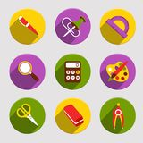Flat School Icons Set Royalty Free Stock Photos