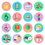 Flat School Icons Set Royalty Free Stock Photography
