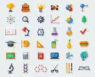 Flat School Icons Vector Collection. High School Object and College Education Items with Teaching and Learning Symbols. Studying and Educational Elements. Back Royalty Free Stock Photo