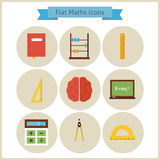 Flat School Maths and Physics Icons Set Royalty Free Stock Photography